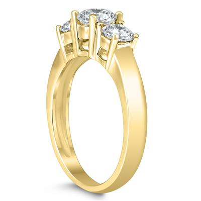 AGS Certified 1 1/2 Carat TW Three Stone Diamond Ring in 14K Yellow Gold
