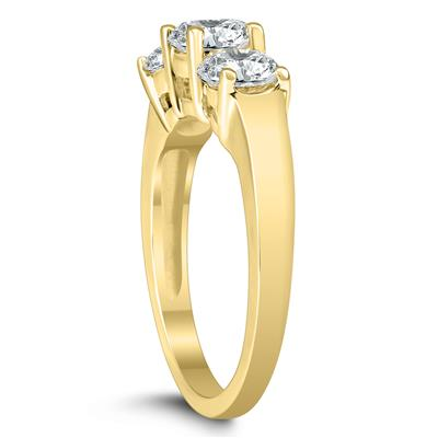 AGS Certified 2 Carat TW Three Stone Diamond Ring in 14K Yellow Gold