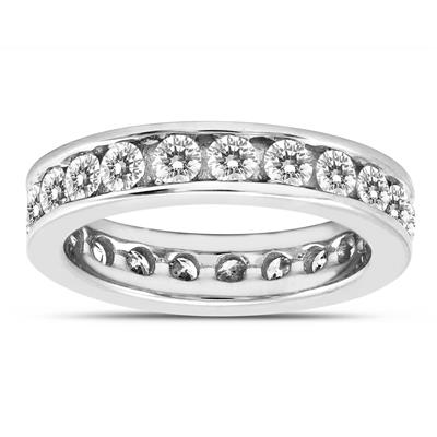 AGS Certified 2 Carat TW Channel Set Diamond Eternity Band in 14K White Gold