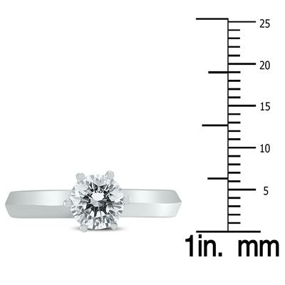 AGS Certified 1 Carat Knife Edge Diamond Solitaire Ring in 14K White Gold