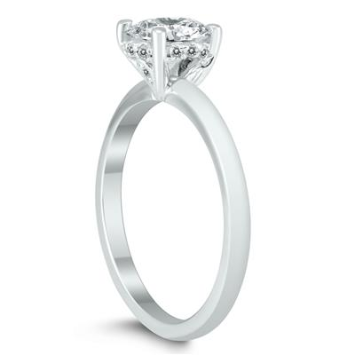 AGS Certified Diamond Solitaire Crown Ring in 14K White Gold with Side Profile Diamonds