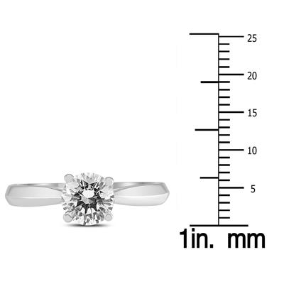 AGS Certified 1 Carat TW Diamond Solitaire Ring with Side Diamond Accents in 14K White Gold