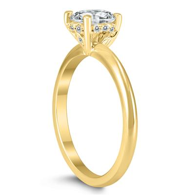 AGS Certified 1 Carat TW Diamond Solitaire Crown Ring in 14K Yellow Gold with Side Accent Diamonds