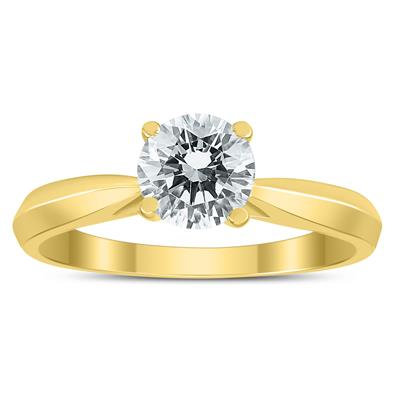 AGS Certified 1 Carat TW Diamond Solitaire Ring with Side Diamond Accents in 14K Yellow Gold