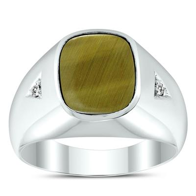 a3d934d9242eb Men's Tiger Eye and Diamond Accent Ring in .925 Sterling Silver ...