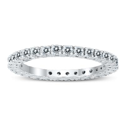 AGS Certified 1 Carat TW Diamond Eternity Band in 10K White Gold