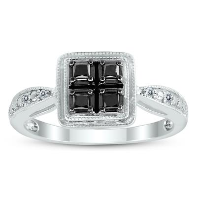 Princess Cut Black and White Quad Set Diamond Ring in .925 Sterling Silver
