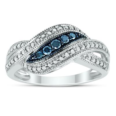 1/10 Carat Tw Genuine Blue Diamond Wave Ring In .925 Sterling Silver