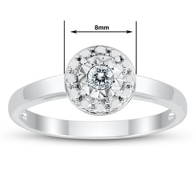 1/10 Carat Diamond Double Halo Fashion Ring in .925 Sterling Silver