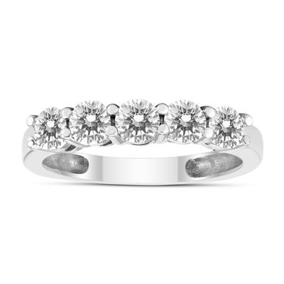 1 Carat TW Five Stone Genuine Round Diamond Wedding Anniversary Ring 14K White Gold