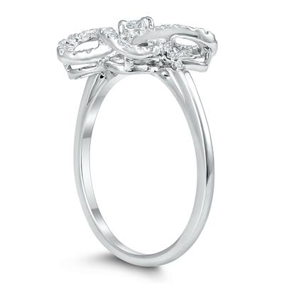 1/4 Carat TW Infinity Heart Diamond Ring in .925 Sterling Silver