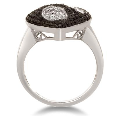 Black And White Diamond Heart Cocktail Ring