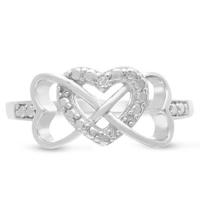 Triple Heart Diamond Infinity Ring in .925 Sterling Silver