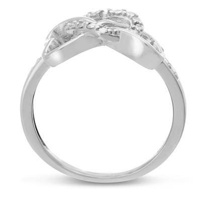 Triple Heart Diamond Infinity Ring in .925 Sterling Silver