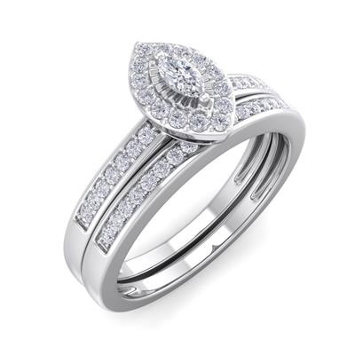 1/4 Carat TW Pave Marquise Shape Halo Diamond Bridal Set in Sterling Silver
