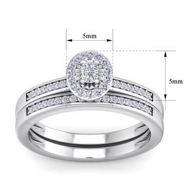 1/4 Carat TW Pave Oval Shape Halo Diamond Bridal Set in .925 Sterling Silver