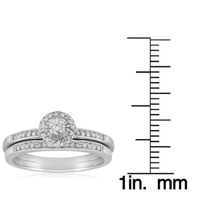 1/4 Carat TW Pave Round Shape Halo Diamond Bridal Set in .925 Sterling Silver