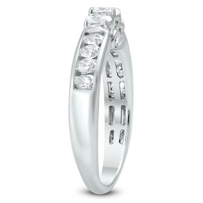 1 Carat TW Oval Diamond Three Stone Ring in 14K White Gold