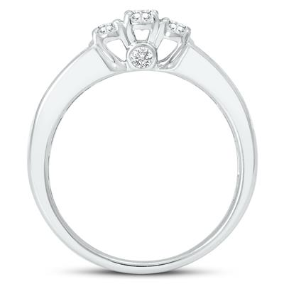 1 Carat TW Oval Diamond Three Stone Ring in 14K White Gold