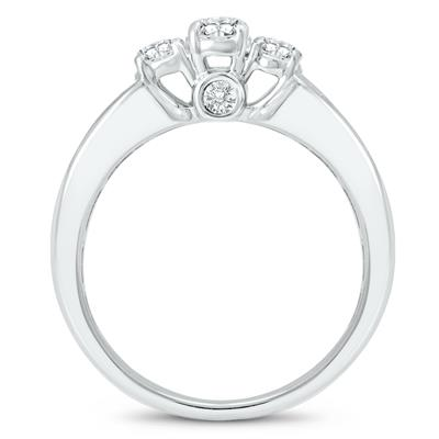 1 1/2 Carat TW Oval Diamond Three Stone Ring in 14K White Gold