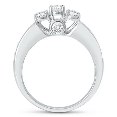 2 Carat TW Oval Diamond Three Stone Ring in 14K White Gold