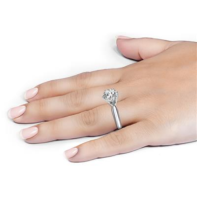 IGI Certified Lab Grown 1 1/10 Carat Diamond Solitaire Ring in 14K White Gold (H Color, VS2 Clarity)