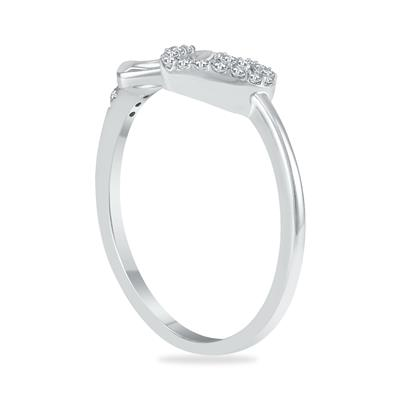 1/10 Carat TW Diamond Double Heart Ring in 10K White Gold