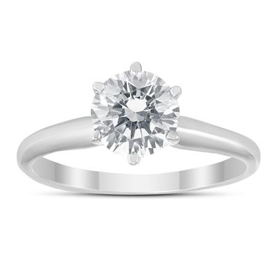 IGI Certified Lab Grown 1 Carat Diamond Solitaire Ring in 14K White Gold (I Color, VS2 Clarity)