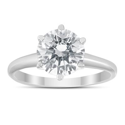 IGI Certified Lab Grown 1 1/4 Carat Diamond Solitaire Ring in 14K White Gold (I Color, SI2 Clarity)