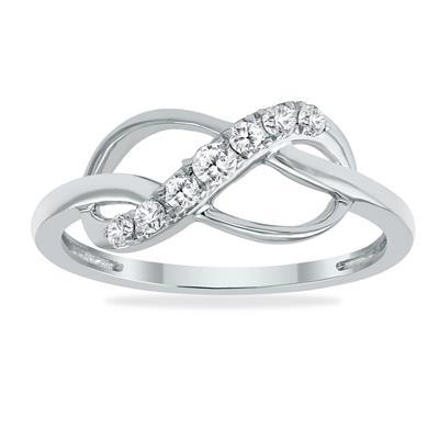 1/5 Carat TW Diamond Infinity Ring in 10K White Gold