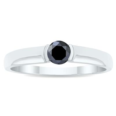 1/3 Carat Half Bezel Black Diamond Solitaire Ring in 10K White Gold
