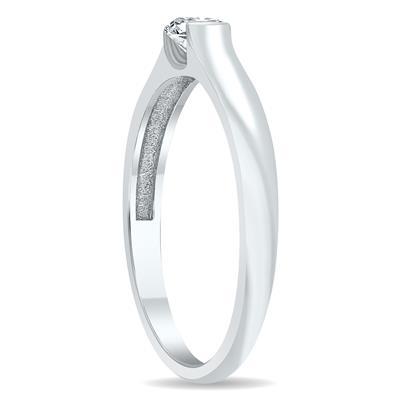 1/3 Carat Half Bezel Diamond Solitaire Ring in 10K White Gold