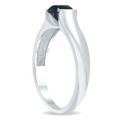 1 Carat Half Bezel Black Diamond Solitaire Ring in 10K White Gold