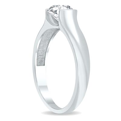 AGS Certified 1 Carat Half Bezel Diamond Solitaire Ring in 10K White Gold