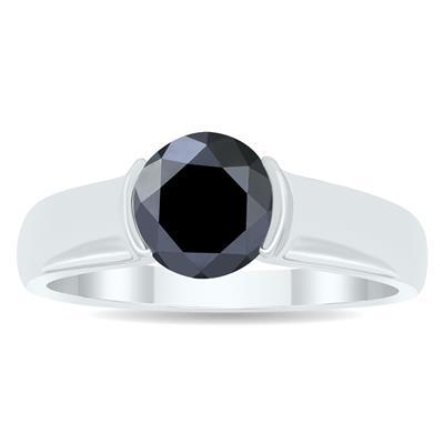 1 1/2 Carat Half Bezel Black Diamond Solitaire Ring in 10K White Gold