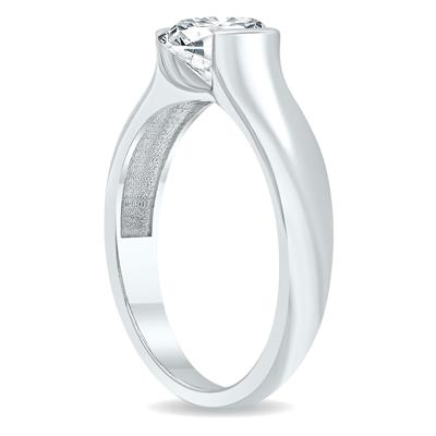 AGS Certified 1 1/2 Carat Half Bezel Diamond Solitaire Ring in 10K White Gold