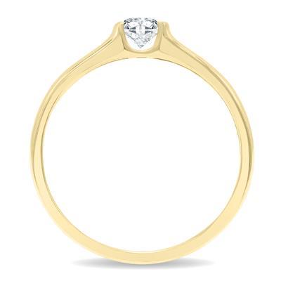 1/3 Carat Half Bezel Diamond Solitaire Ring in 10K Yellow Gold