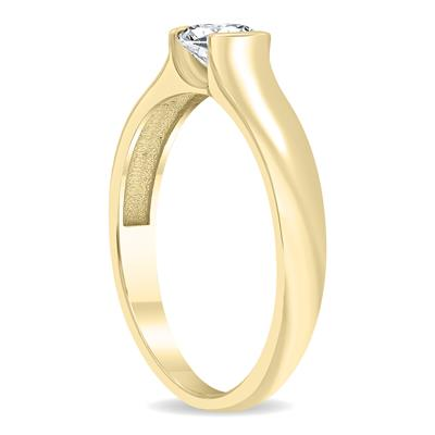 AGS Certified 3/4 Carat Half Bezel Diamond Solitaire Ring in 10K Yellow Gold