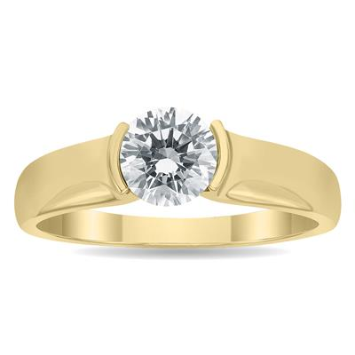 AGS Certified 1 Carat Half Bezel Diamond Solitaire Ring in 10K Yellow Gold