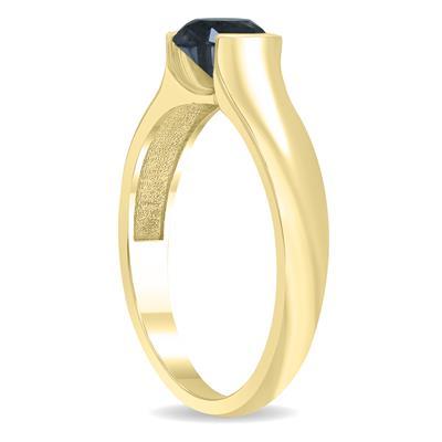 1 Carat Half Bezel Black Diamond Solitaire Ring in 10K Yellow Gold