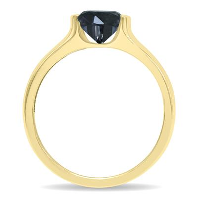 1 1/2 Carat Half Bezel Black Diamond Solitaire Ring in 10K Yellow Gold