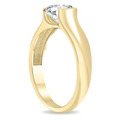 AGS Certified 1 1/2 Carat Half Bezel Diamond Solitaire Ring in 10K Yellow Gold