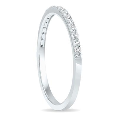 1/5 Carat TW Thin Diamond Wedding Band in 10K White Gold