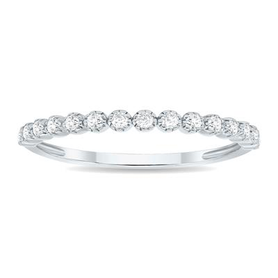 1/5 Carat TW Beaded Crown Setting Diamond Wedding Band in 10K White Gold (Wedding, Stackable or Fashion Ring)