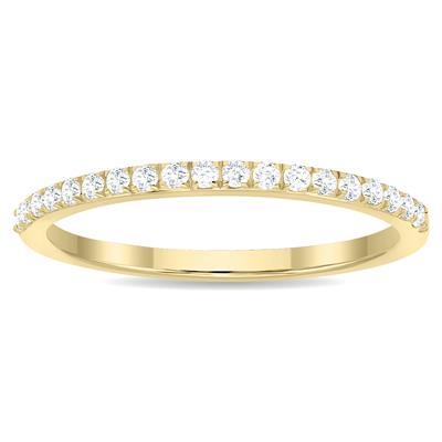 1/5 Carat TW Thin Diamond Wedding Band in 10K Yellow Gold