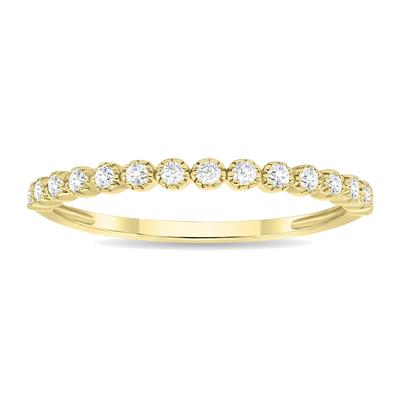 1/5 Carat TW Beaded Crown Setting Diamond Wedding Band in 10K Yellow Gold (Wedding, Stackable or Fashion Ring)