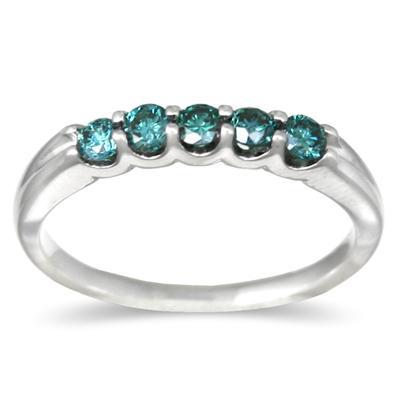1/2 Carat TW White Gold Blue Diamond 5 Stone Ring in 14K White Gold