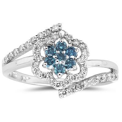 Blue and White Diamond Flower Ring in 10k White Gold