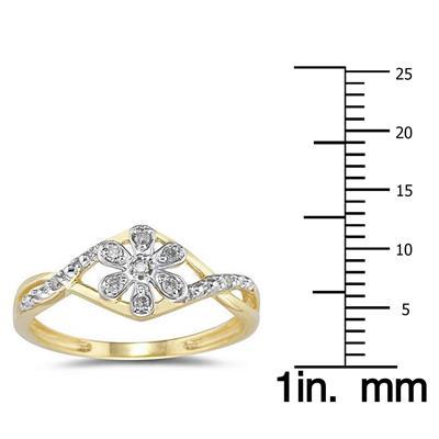 Diamond Flower Twist Ring in 10k Yellow Gold