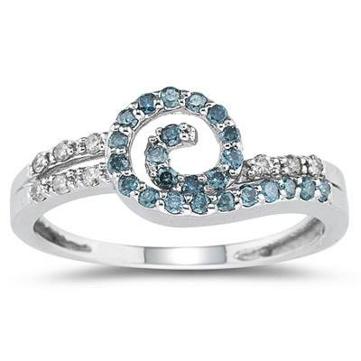 Blue and White Diamond Ring in 14K White Gold